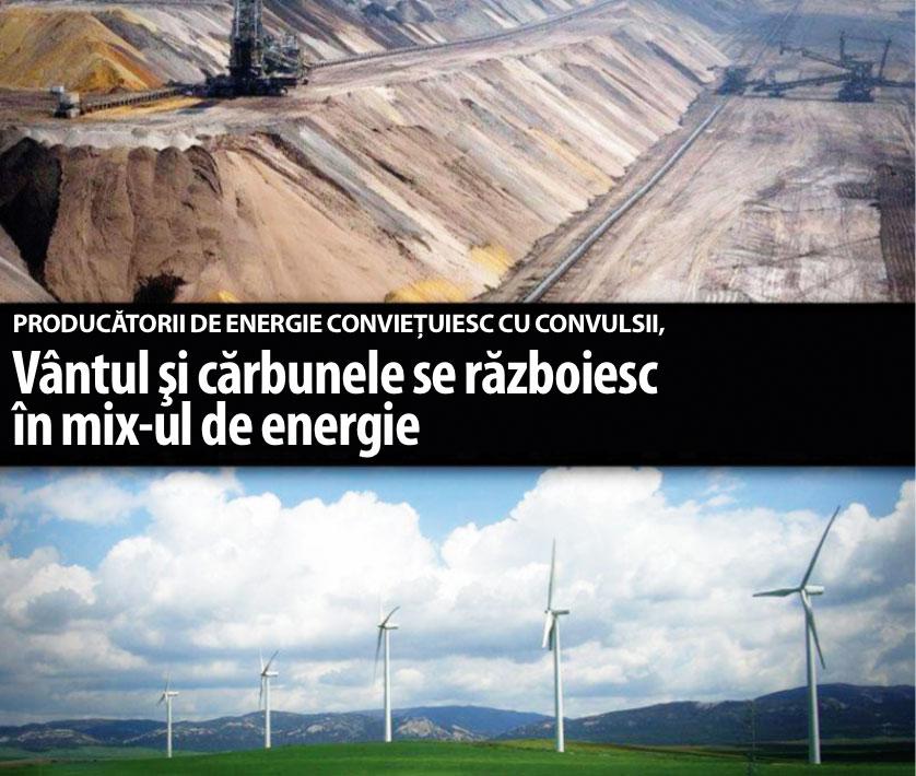 Vântul şi cărbunele se războiesc în mix-ul de energie