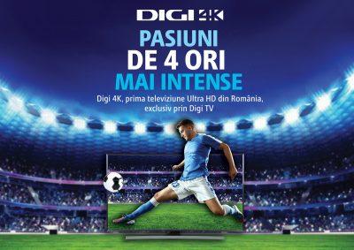 În premieră, extraopțiunea Digi 4K, este disponibilă pentru abonații Digi TV Digital din 10 decembrie