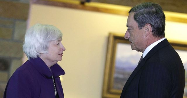 Federal Reserve Chair Janet Yellen, left, and European Central Bank President Mario Draghi speak during the Jackson Hole Economic Policy Symposium at the Jackson Lake Lodge in Grand Teton National Park near Jackson, Wyo. Friday, Aug. 22, 2014. (AP Photo/John Locher)/WYJL110/401720219236/1408222128