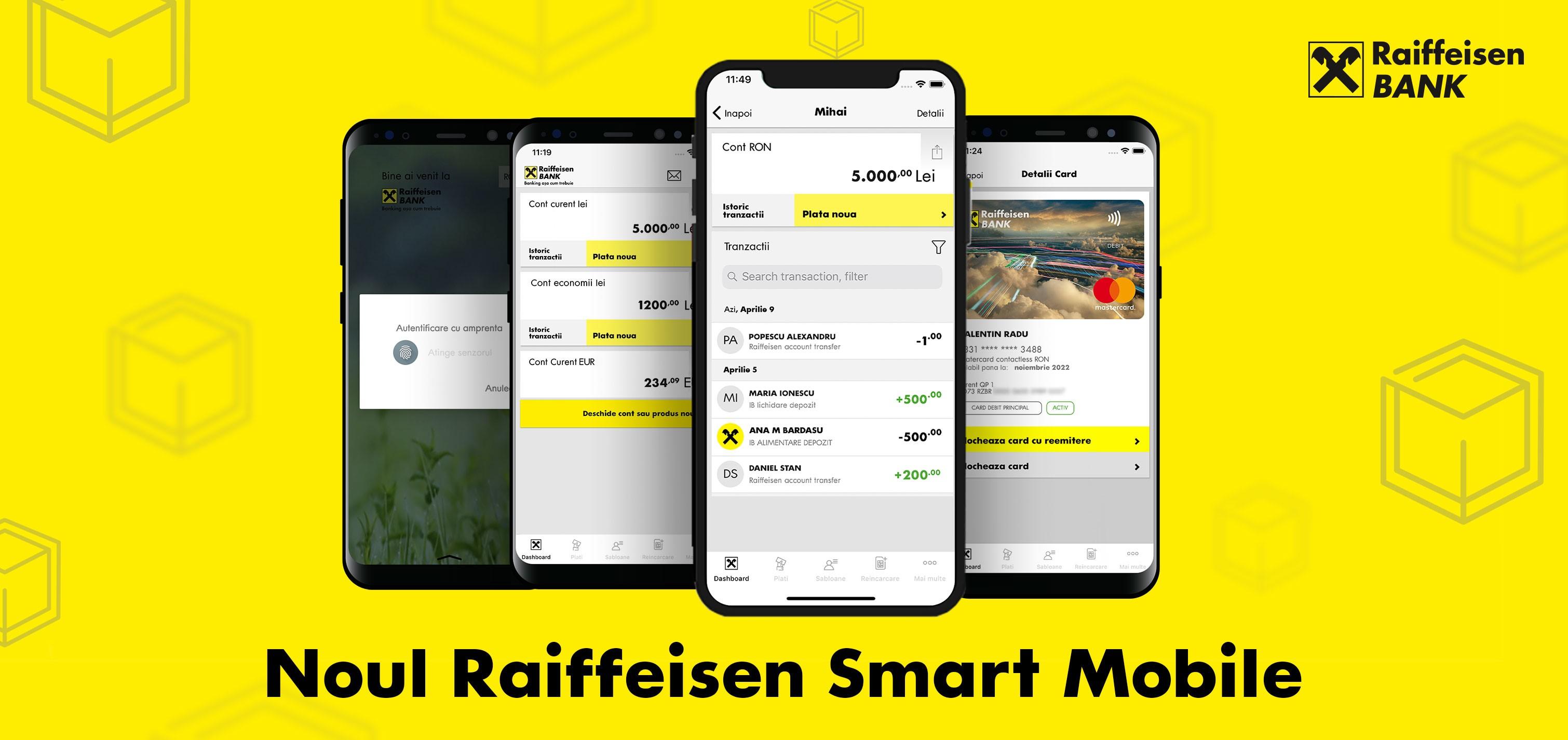 Raiffeisen Bank a lansat noile aplicaţii de mobile şi internet banking